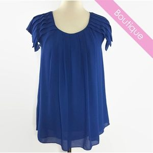 efd6bc8ae72074 Sophie Max Tops - Sophie Max Pleated Blue Chiffon Blouse NWT XS